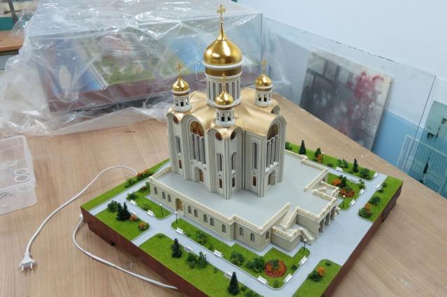 Макет Спасского кафедрального собора в Барнауле