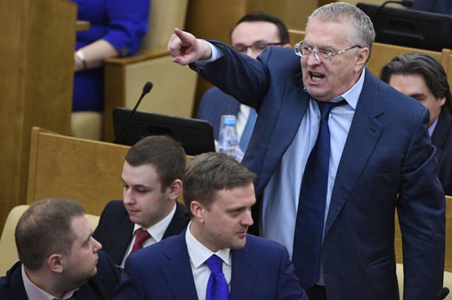 Лидер ЛДПР Владимир Жириновский на пленарном заседании Государственной Думы РФ.