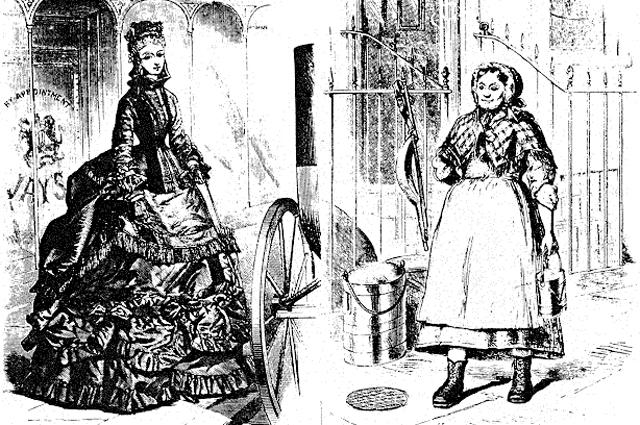 Классовый контраст в женском наряде 1870-х годов. Лондон.