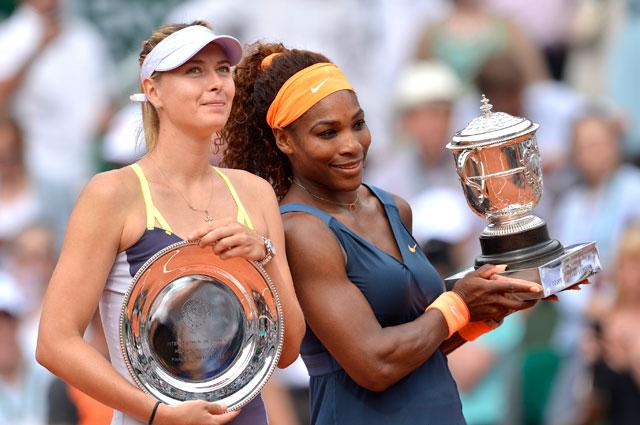 Мария Шарапова и Серена Уильямс на Открытом чемпионате Франции по теннису 2013. Победу в том году одержала Уильямс