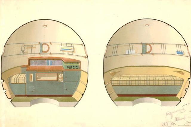 3-ий вариант интерьера Орбитального отсека корабля «Союз», утвержденный С.П.Королевым 18февраля 1964г.