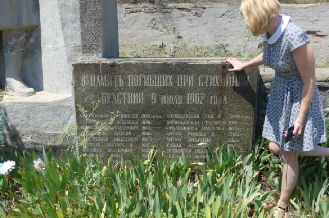 В память погибших при стихийном бедствии 9 июля 1967 года.