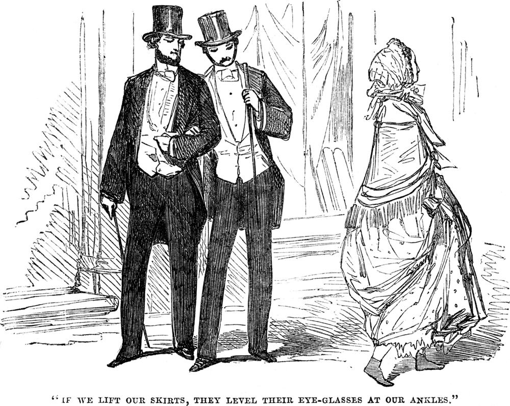 Карикатура выражает викторианскую дилемму - женщинам часто приходится слегка приподнимать юбки, если они не хотят протащить их через мокрую или грязь, но многие мужчины нашли, что полученное проявление лодыжек было слегка щекотливым.