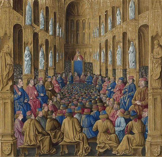 Собор в Клермоне. Миниатюра Жана Коломба из книги Себастьена Мамро «Походы французов в Утремер» (1474)