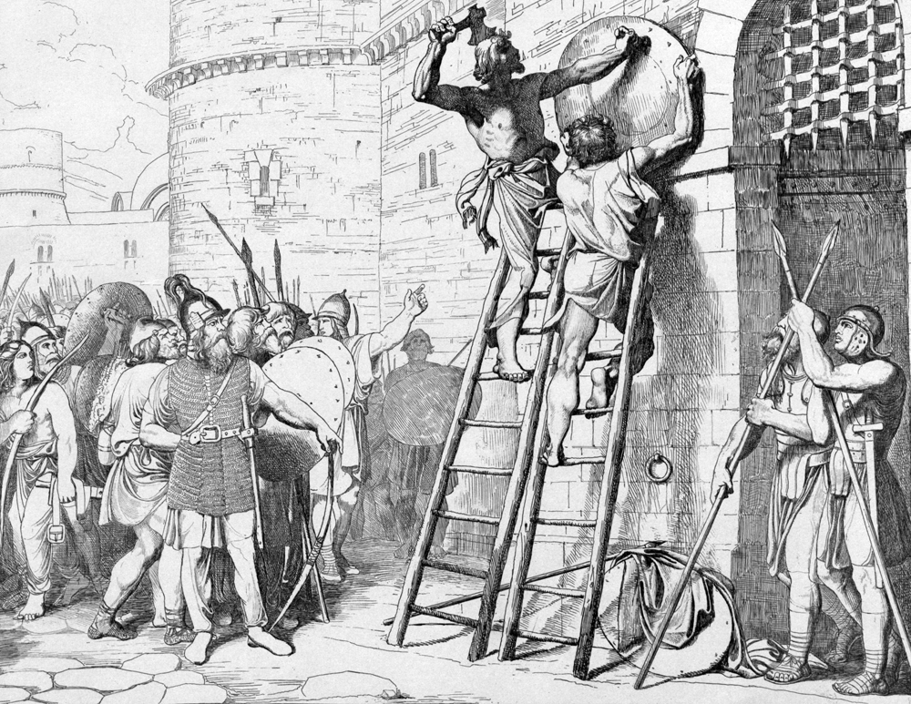 «Олег прибивает щит свой квратам Царьграда», гравюра Ф.А. Бруни.