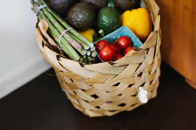 овощи, корзина с овощами, продукты