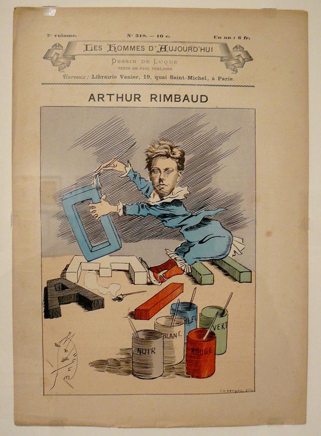 Карикатура на Артюра Рембо. Обложка журнала «Современные люди» №318, январь 1888 года.