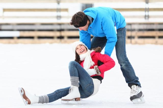 катание на коньках, пара