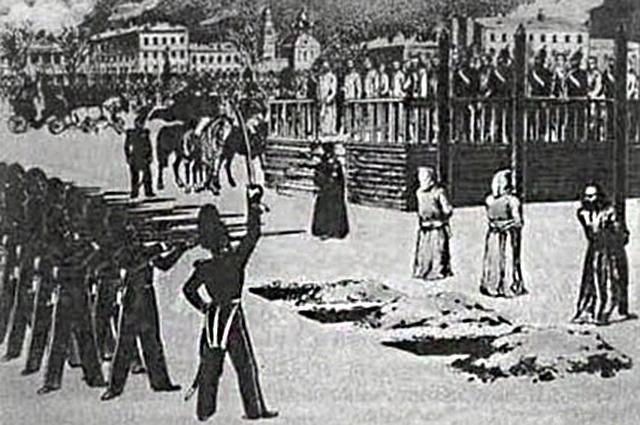«Обряд казни на Семёновском плацу», рисунок Б. Покровского, 1849 год.