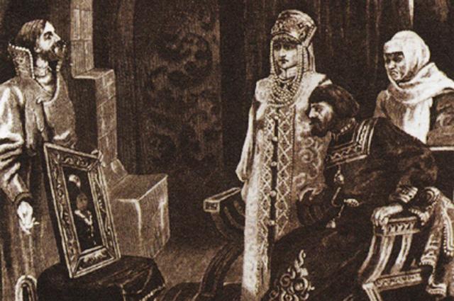 Виктор Муйжель. «Посол Иван Фрезин вручает Ивану III портрет его невесты Софьи Палеолог»