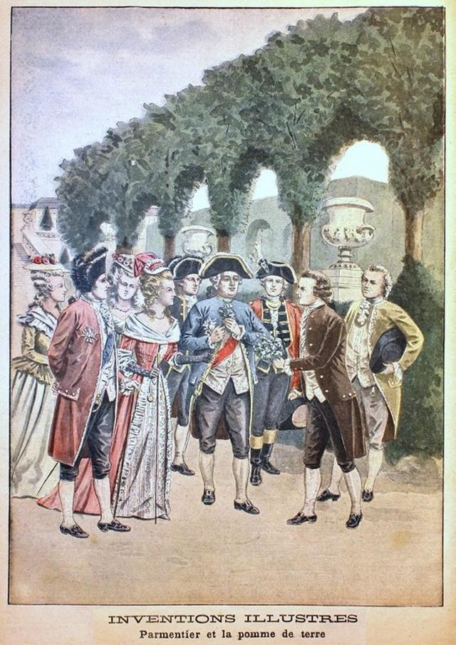Французский агроном и фармацевт Антуан Огюст Пармантье предлагает букет из цветков картофеля Людовику XVI и Марии-Антуанетте, гравюра в Le Petit Journal за март 1901 года