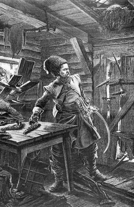 Смерть атамана донских казаков Булавина под Азовом в 1708 году. Художник Р. Ф. Штейн