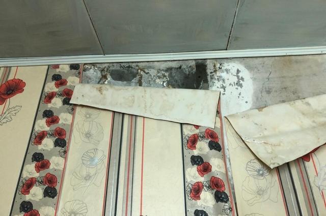 Крыша течёт непрерывно. Из-за этого по потолку и стенам ползёт грибок.