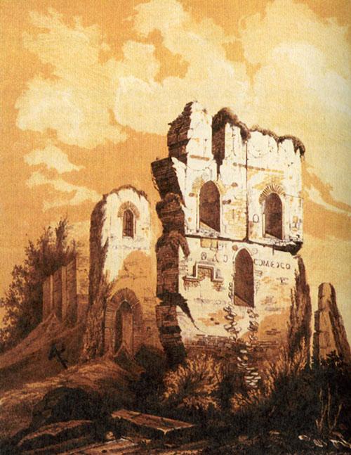 Руины Десятинной церкви на рисунке 1826 г. (иногда описывается как копия работы А. ван Вестерфельда, что ставится под сомнение историками).