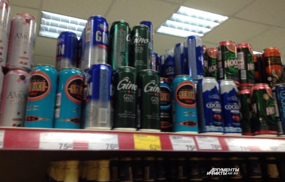 Алкогольный энергетик на полке Краснодарского магазина