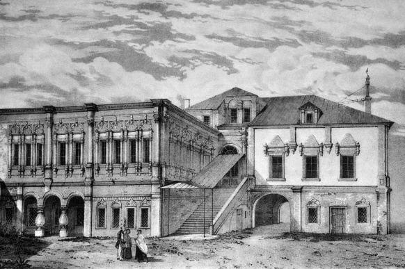 Репродукция литографии Дом князей Юсуповых в Харитоньевском переулке XVIII века