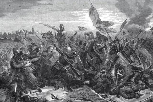 Гравюра Поца, оригинальный рисунок Коверзнева: «Битва князя Пожарского с гетманом Ходкевичем под Москвой».