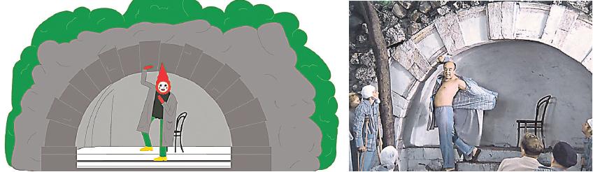 На стенах поезда московского метро теперь можно прочитать массу весёлых историй про «Покровские ворота» (кадр из фильма – на фото справа) и другие фильмы.