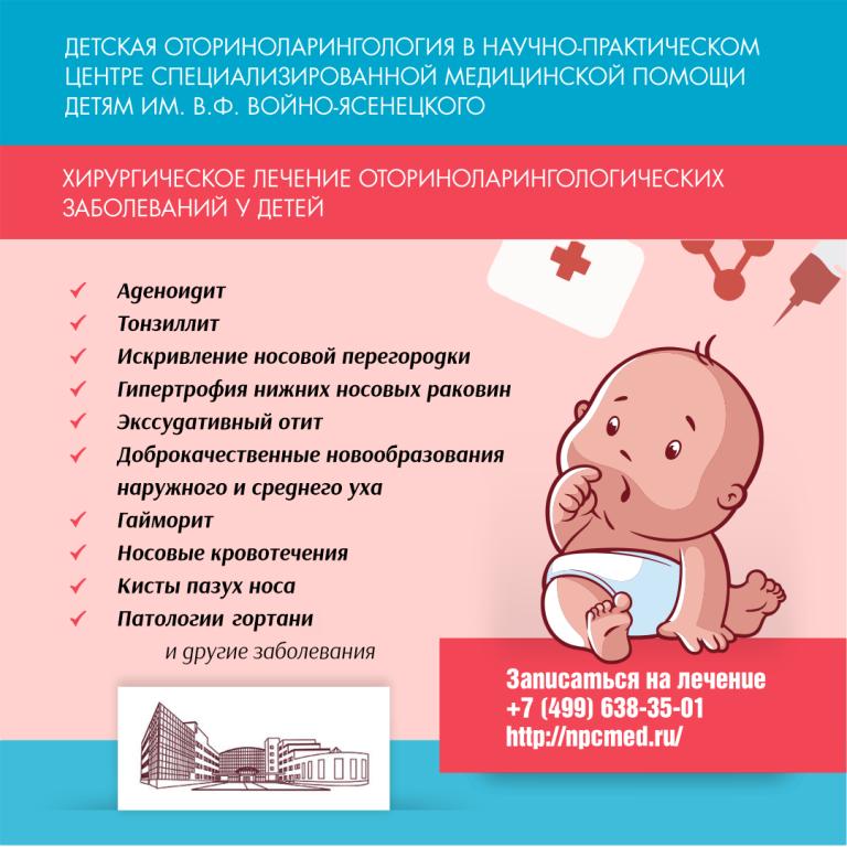 Детская оториноларингология в НПЦ медицинской помощи детям им. В.Ф. Войно-Ясенецкого
