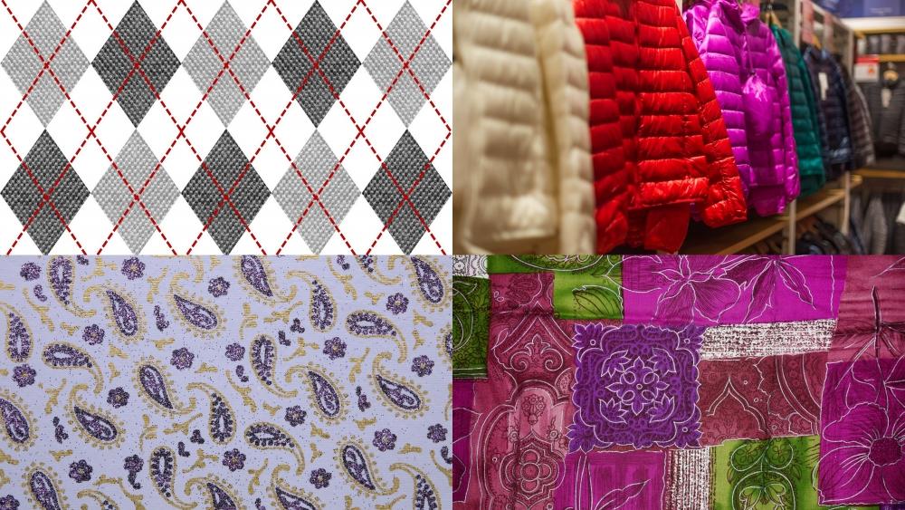 Этой зимой популярны (начиная с верхнего левого угла): аргайл, стёганые вещи, пэйсли, пэчворк.