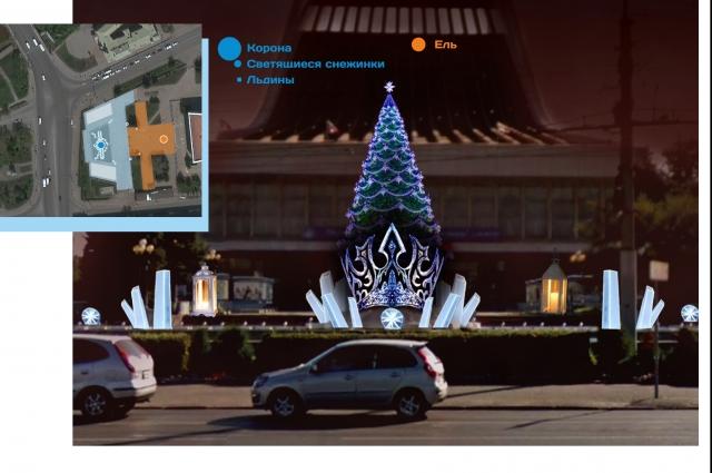Новогодняя схема Театральной площади.