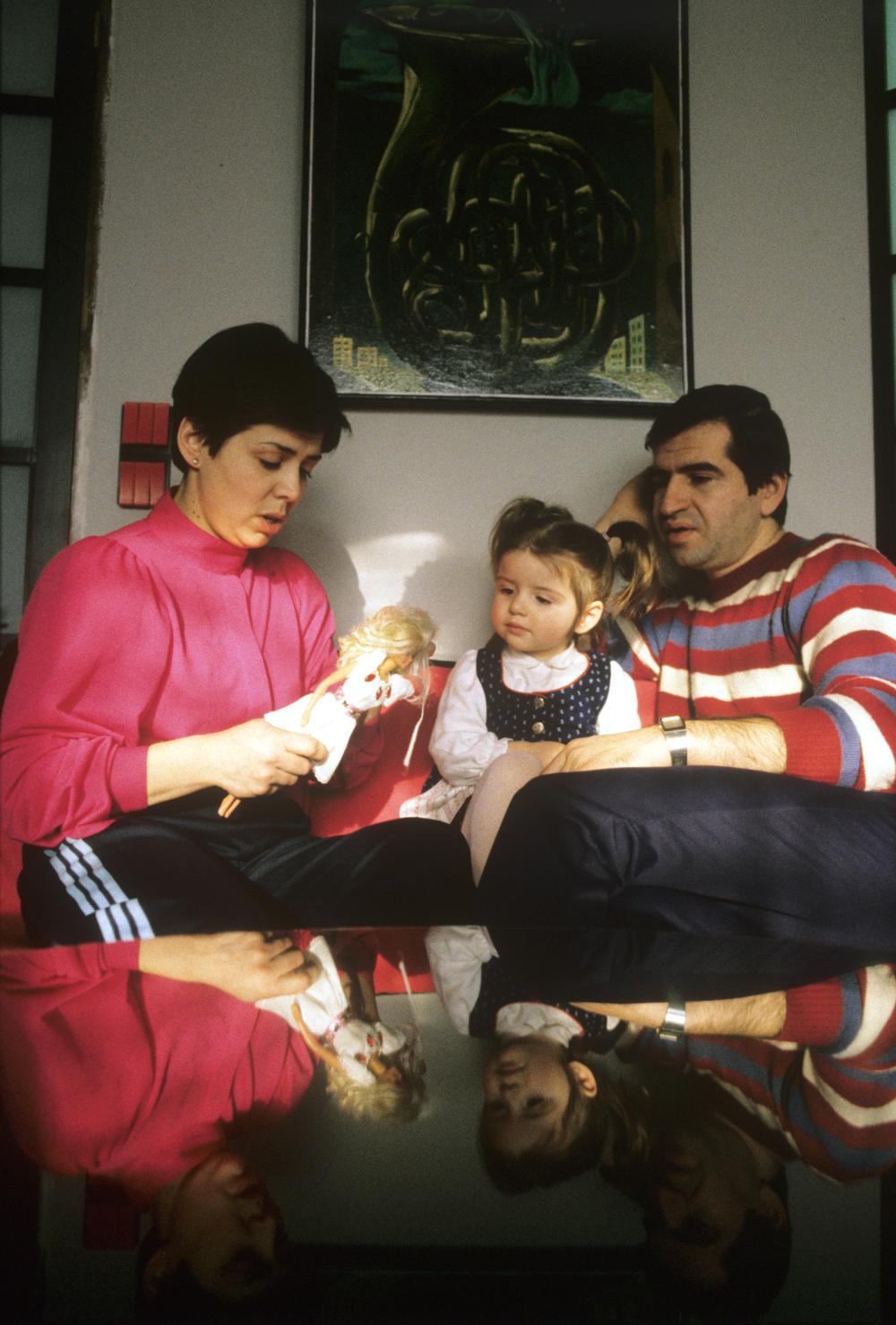 Ирина Роднина с мужем Леонидом Миньковским и дочерью Алёной.