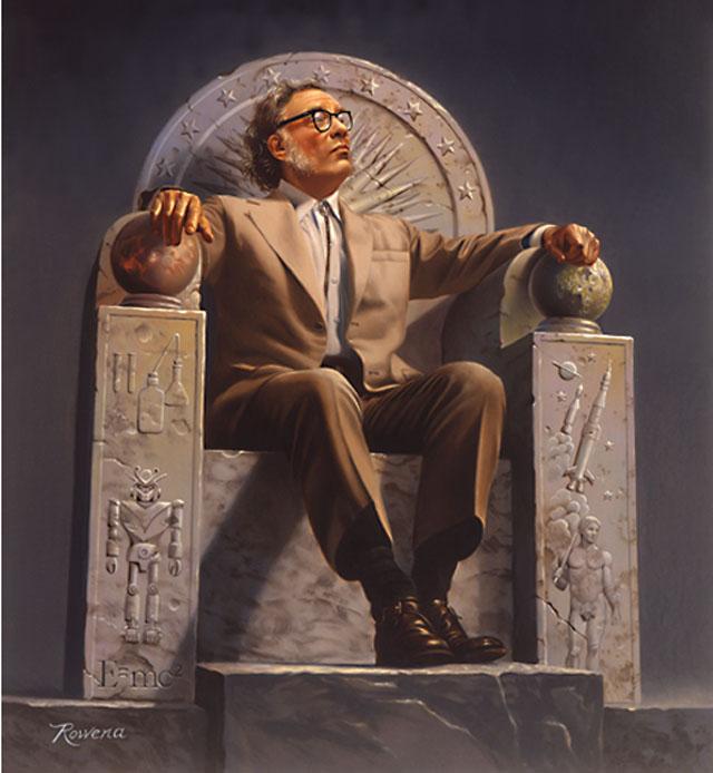 Айзек Азимов на троне с символикой из его работ. Иллюстрация Ровены Моррилл. 2005 г
