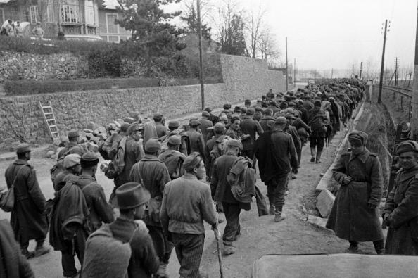 Венгерские солдаты, захваченные в плен в районе озера Балатон