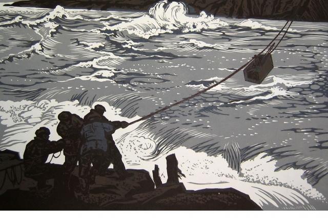 Графические работы Николая Сальникова передают дух эпохи освоения территории и недр Сибири.