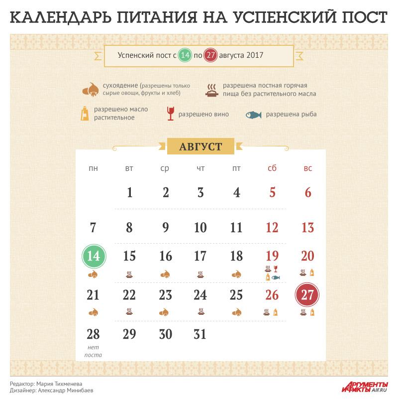 Календарь Успенского поста 2017