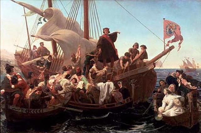 «Колумб на палубе Санта-Мария» (1855). Эммануэль Готлиб Лойце.