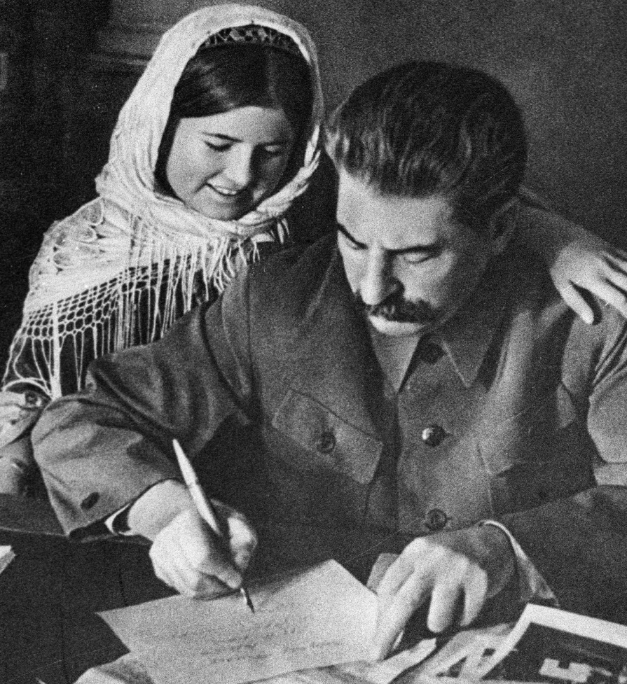 Сталин и Мамлакат Нахангова, 1935 г.
