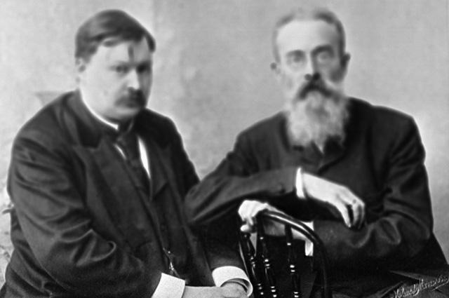 Русские композиторы Александр Глазунов и Николай Римский-Корсаков. 1900 г.