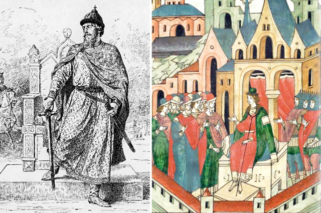 Великий князь Владимиро-Суздальский Дмитрий Александрович, рисунок В. П. Верещагина (слева). Андрей Александрович, князь Городецкий, фрагмент.