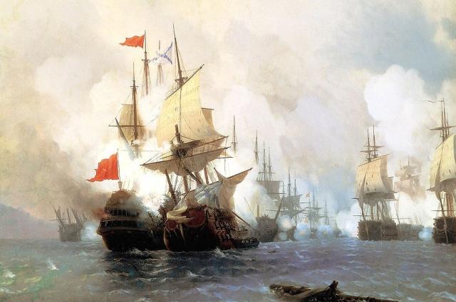 И. Айвазовский. Бой в Хиосском проливе 24 июня 1770 года