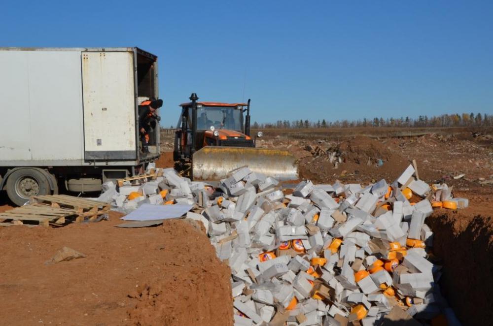 Под Оренбургом бульдозер сравнял с землей 19,5 тонн сырного продукта.
