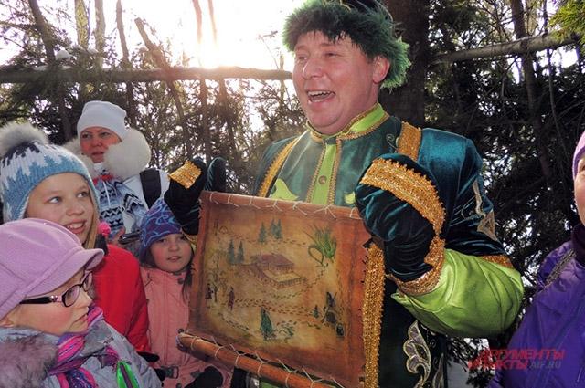 Батыр показывает карту волшебного леса близ резиденции