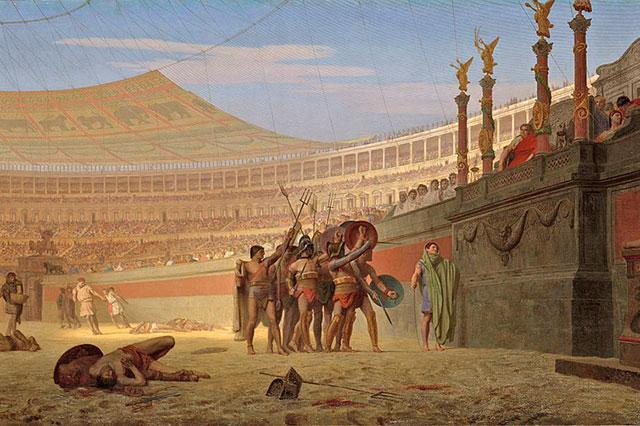 Картина «Славься, Цезарь! Идущие на смерть приветствуют тебя». Художник Жан-Леон Жером.