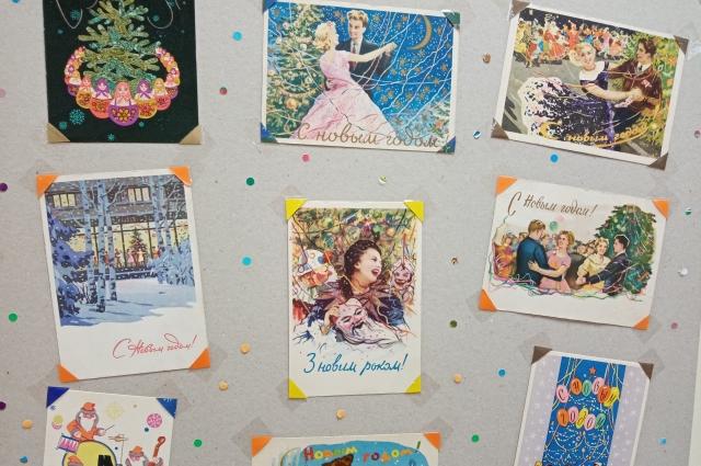 Среди экспонатов уникальные открытки 50-60-х годов прошлого века.