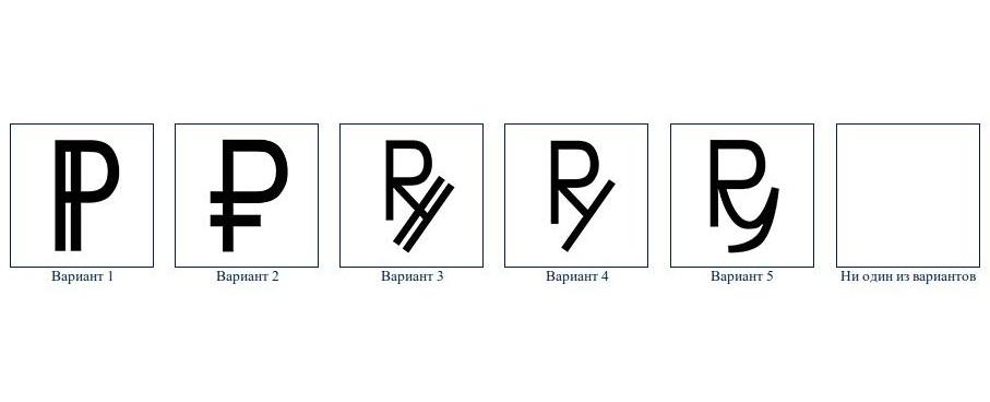 Предложенные варианты знака рубля