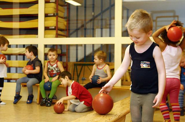 Дети, мяч, физкультура