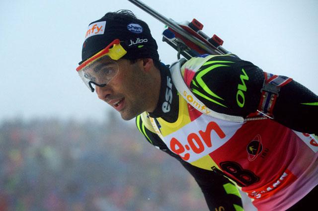 Мартен Фуркад на дистанции гонки преследования в Оберхофе, 2014 год