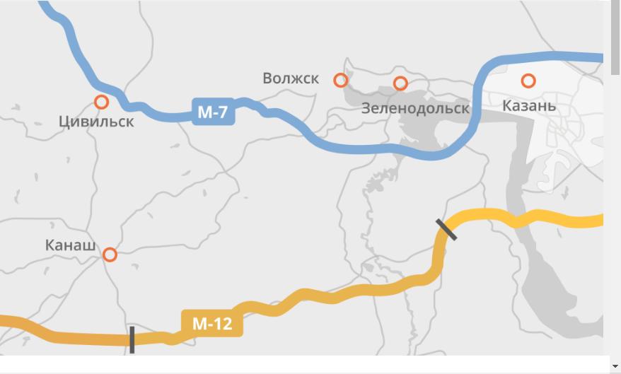 М-12 входит в Татарстан со стороны Чувашии, в Кайбицком районе.