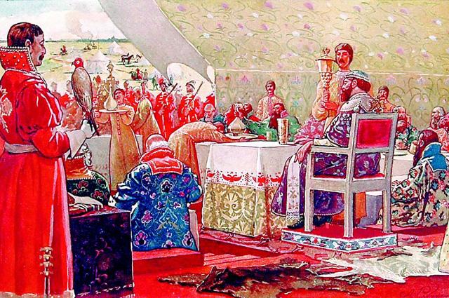 Чем выше должность, тем ближе твой стул к трону. Картина А. П. Рябушкина Пир царя Алексея Михайловича с ближними боярами в отъезжем поле . 1898 г