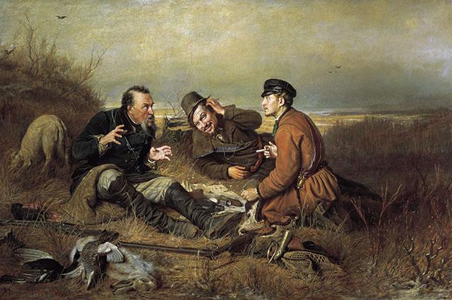 Картина русского живописца Василия Перова «Охотники на привале», 1871 г.