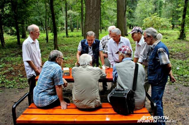 Игра в шахматы в Белоусовском парке Тулы