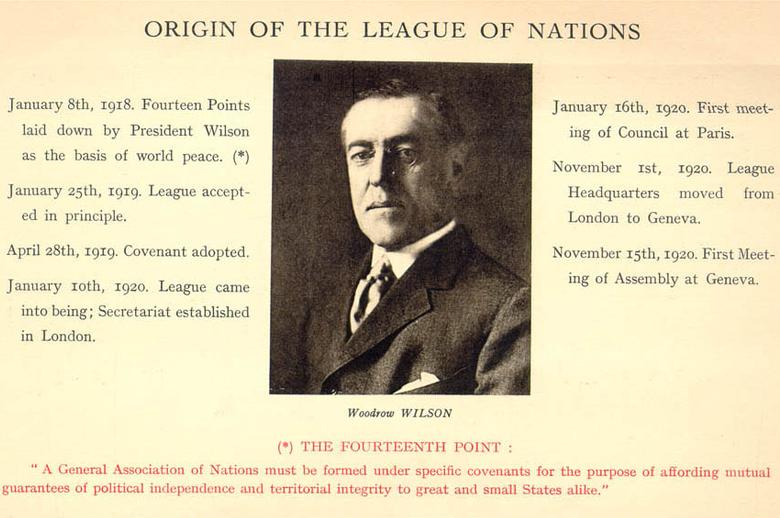 Памятные карточки с изображением американского президента Вильсона и Происхождение Лиги Наций