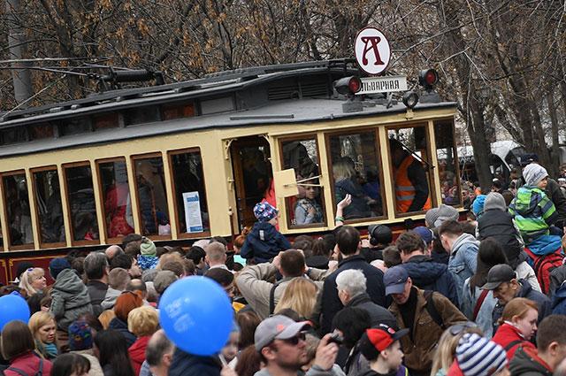 Парад трамваев в Москве.