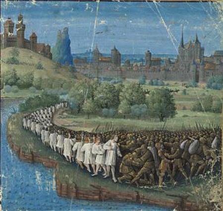 Крестовый поход бедняков. Миниатюра Жана Коломба из книги Себастьена Мамро «Походы французов в Утремер» (1474)