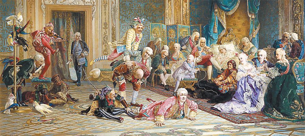 Камеди клаб XVIII века: императрицу Анну Иоанновну (лежит в постели) веселят шуты – князь М. Го- лицын (стоит согнувшись), князь Н. Волконский (вскочил на него), граф А. Апраксин (лежит на полу).